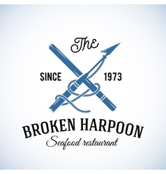 Broken harpoon seafood restaurant abstract vector