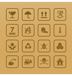 Set of packing symbols icon for box on cardboard vector