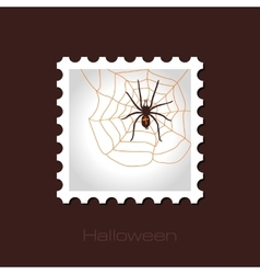Spider web and spider halloween stamp vector