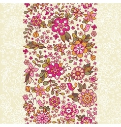Seamless floral pattern with a bird and flowers vector