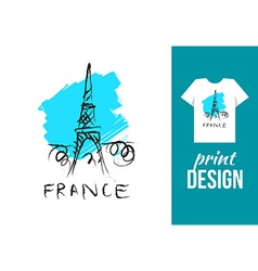 Eiffel tower hand drawn with text france for vector