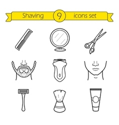 Shaving linear icons set vector image