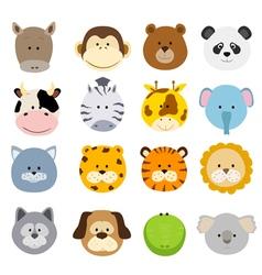 Cartoon animals faces vector