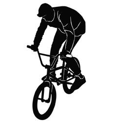 Teenager riding a BMX bicycle vector image