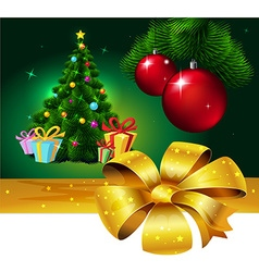 Banner with colorful fir xmas tree and gift - vector