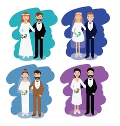Wedding couples collection smiling bride and vector