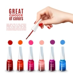 Best nail polish colors realistic poster vector