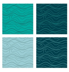 Abstract seamless patterns set fancy doodle vector