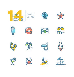 at the beach - thick line icons set vector image vector image