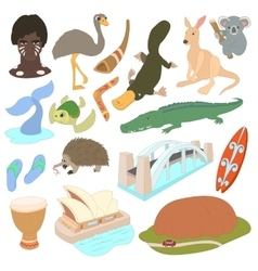 Australia icons set cartoon style vector image