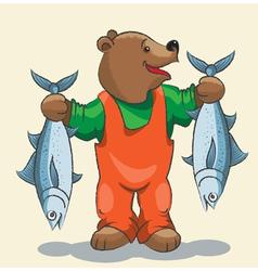 Bear fisherman vector