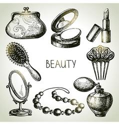 Beauty sketch icon set vector