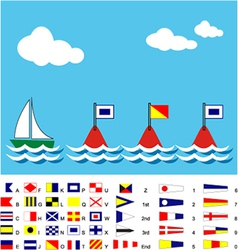 Boat with sos flags and maritime signal flags vector