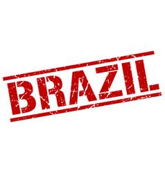 Brazil red square stamp vector