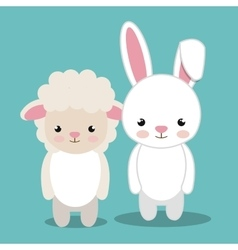 Cartoon animal sheep rabbit plush stuffed design vector