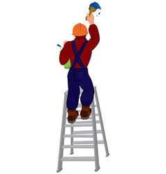 Cartoon man in hard hat on the ladder painting vector