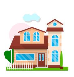 Cute modern house exterior vector