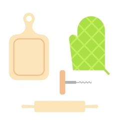Cutting cooking board with rolling pin vector