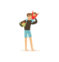 Exhausted father holding two little cheerful kids vector