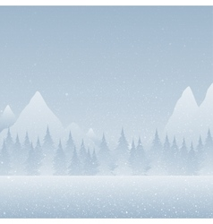 Forest montains on a snowy blue background vector