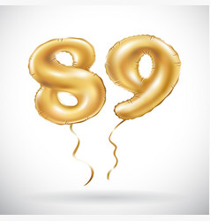golden number 89 eighty nine metallic balloon vector image vector image