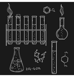 Hand drawn chemistry laboratory icons sketch vector