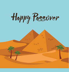 Happy passover jewish holiday card template with vector