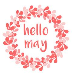 Hello may watercolor wreath card vector