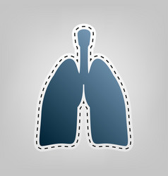 Human anatomy lungs sign blue icon with vector