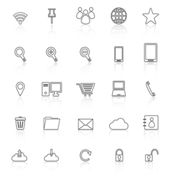 Internet line icons with reflect on white vector