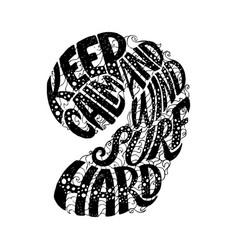 keep calm and windsurf hard custom hand lettering vector image