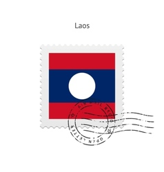 Laos Flag Postage Stamp vector image vector image