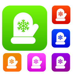 Mitten with white snowflake set collection vector