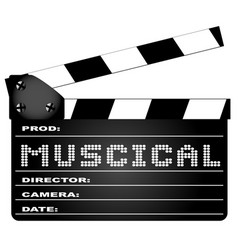 Musical movie clapperboard vector