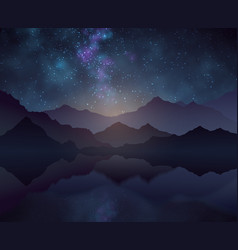 Nature night background with starry sky vector