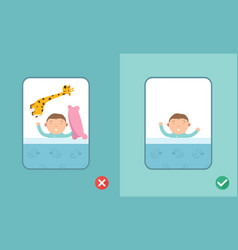 right and wrong safe sleeping baby vector image