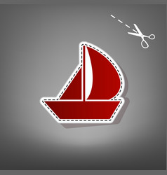 Sail boat sign red icon with for applique vector