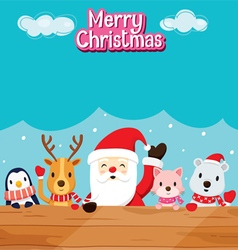 Santa Claus Animals On Wood vector image