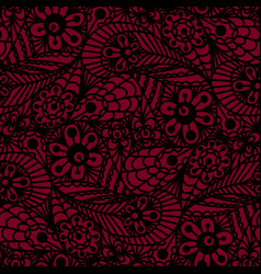 Seamless flower paisley lace pattern on red vector