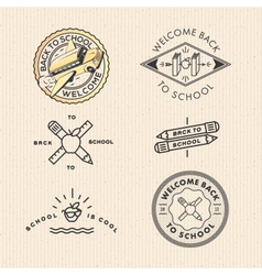 set vintage school labels vector image