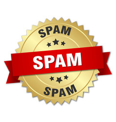 Spam round isolated gold badge vector
