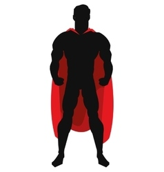 Superheroe with red cape posing silhouette vector