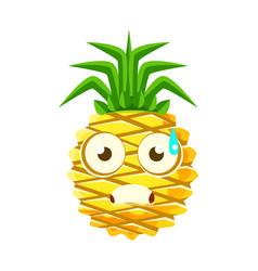 terrified pineapple face cute cartoon emoji vector image vector image