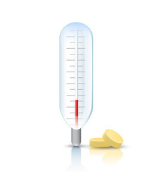 Thermometer with pills vector