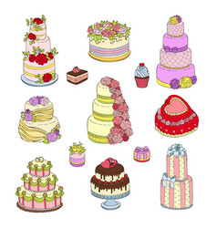 wedding cake set wed vector image