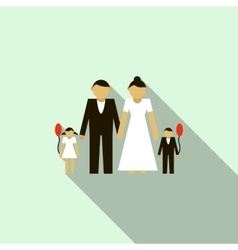 Wedding couple with children icon flat style vector image