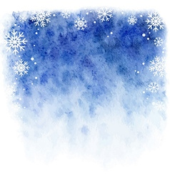 Winter watercolor background blue sky with falling vector