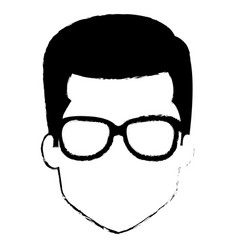 Young man head with glasses avatar character vector