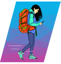 Young woman is walking with a mobile phone vector