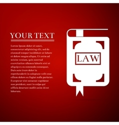 Law book flat icon on red background vector image